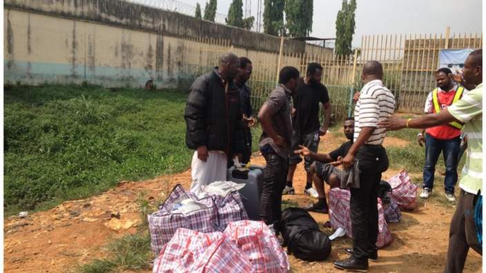 """Exclusive Photos Of The 500 Nigerians Deported From UK With """"Ghana Must Go Bags"""""""
