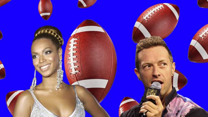 Beyonce and Coldplay imposed onto a background of American footballs