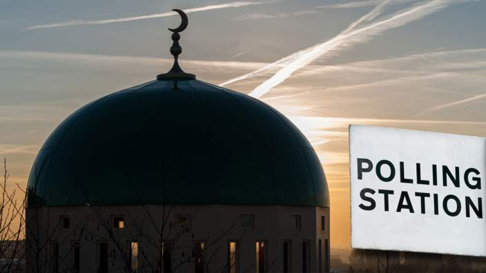 Mosque and polling sign