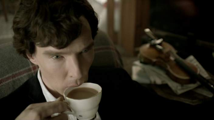 Sherlock drinking tea
