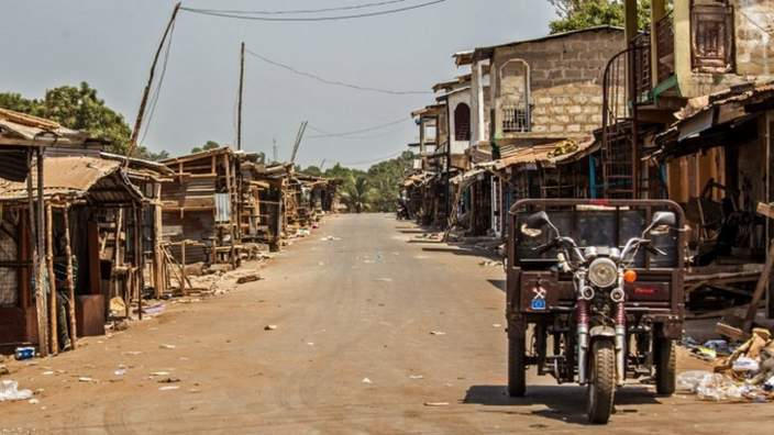 A deserted street in Freetown on 28 March 2015