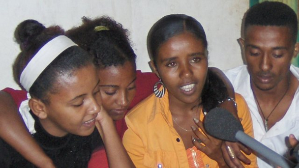 Young Ethiopians gather to listen to health radio show Abugida
