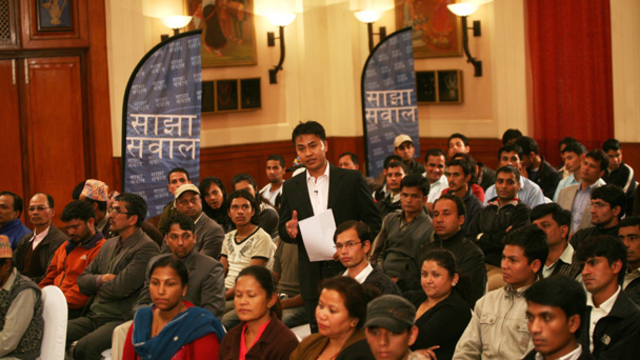 Presenter Narayan Shrestha in the audience