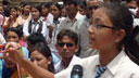 A schoolgirl asks a question during the BBC Media Action debate show Sajha Sawal in Nepal.