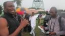 Recording radio programme Talk Your Own in Nigeria.