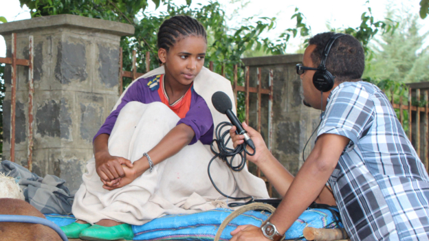 ethiopia girl being interviewed