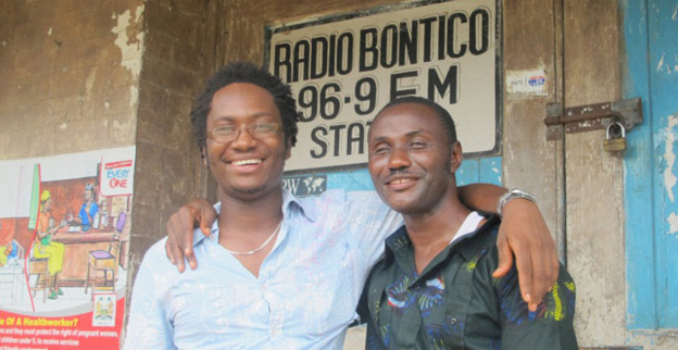 BBC Media Action trainer Ed Kargo and a blind man he trained in Sierra Leone.