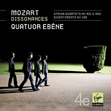 Review of Dissonances – String Quartetes KV 421 & 465; Divertimento KV 138 (Quator Ebene)