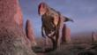 Allosaurus in a dry and sandy landscape