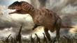 Carcharodontosaurus among a group of sauropod dinosaurs