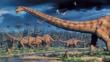 A herd of Diplodocus dinosaurs