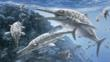 Adult and young Temnodontosaurus surrounded by fish