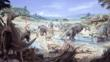A herd of various hadrosaur dinosaurs
