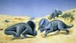 Two protoceratops from a group fighting in the desert