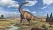 Brachiosaurus, a large sauropod dinosaur, looking round
