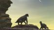 Two Moschops about to fight on a sandstone mesa