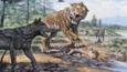 Dire wolves surrounding a sabertooth tiger at La Brea Tar Pits, California.