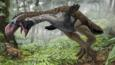 The giant bird Gastornis hunting a Leptictidium in dense forest