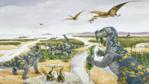 A group of grazing Muttaburrasaurus with smaller dinosaurs in the forground and pterosaurs above