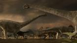 Argentinosaurus standing at water's edge surrounded by dinosaur eggs in nests