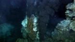 Black smoke billows out of a deep ocean hydrothermal vent
