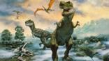 A pair of Tyrannosaurus rex in a misty landscape