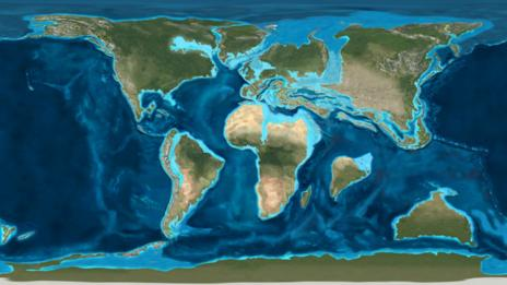 A map of the Earth at the time of the Cretaceous-Tertiary mass extinction