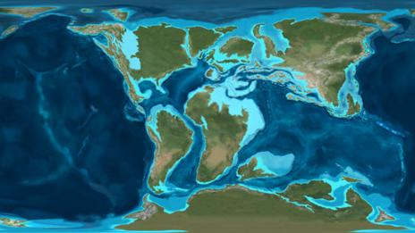 A map of the Earth in the Cretaceous Period