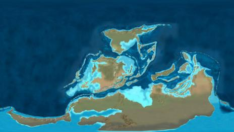 A map of the Earth in the Devonian Period