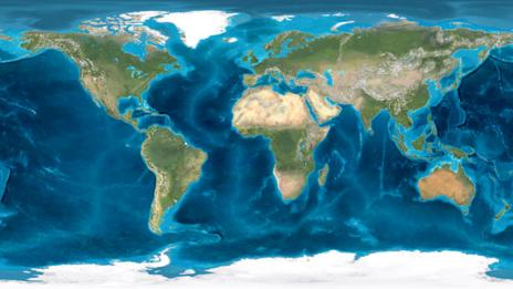 A map of present day Earth