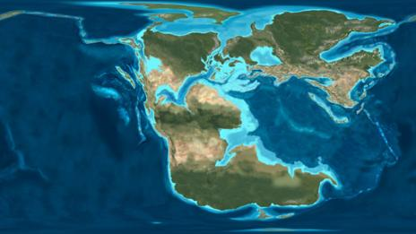A map of the Earth in the Jurassic Period