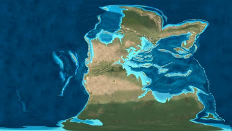 A map of the Earth in the Triassic Period