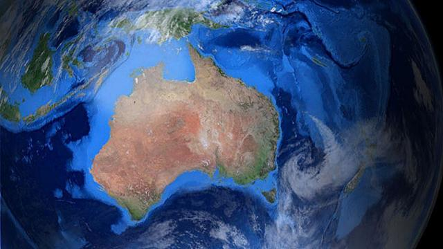 Photograph of Earth showing the location of the Australasia ecozone