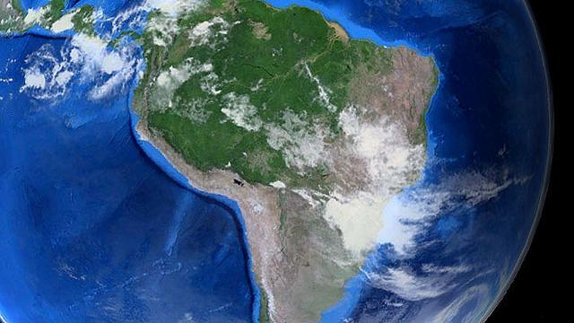 Photograph of Earth showing the location of the Neotropical ecozone