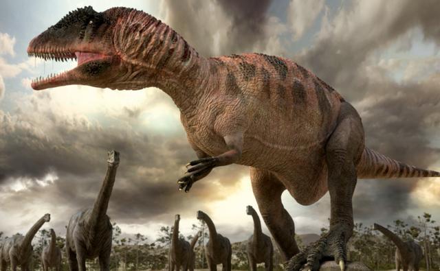 Carcharodontosaurus among a group of sauropod dinosaurs
