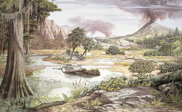 Landscape during the Cretaceous period