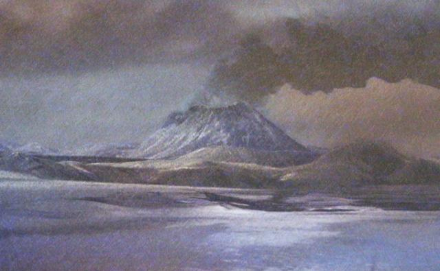 Volcanoe on a Cryogenian landscape in acid rain