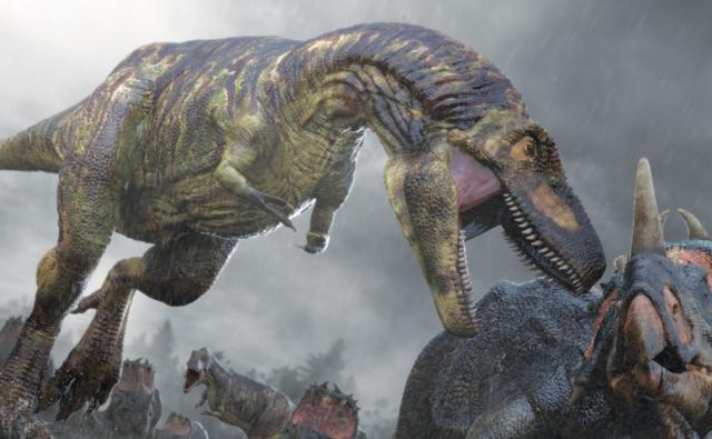 Daspletosaurus attacking a horned dinosaur