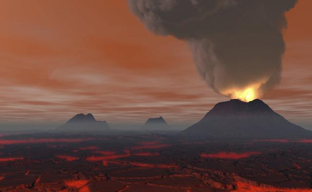 A Landscape with massive erupting volcanoes and fields of lava