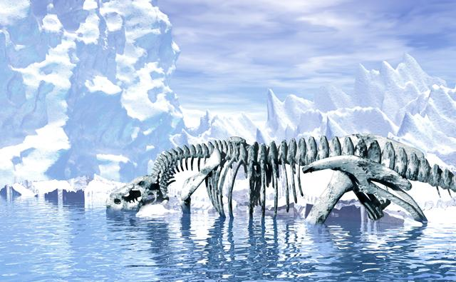 Dinosaur bones revealed by melting ice