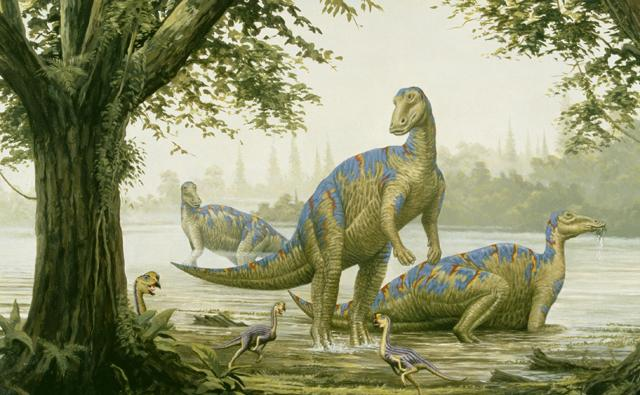 A group of mandschurosaurus dinosaurs in a forest clearing