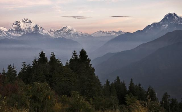 Dhaulagiri mountain seen from Poon Hill at sunrise, Nepal