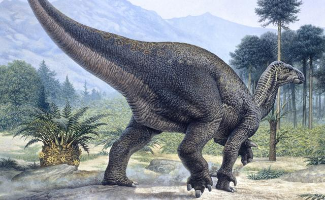 Iguanodon with mountains in the background
