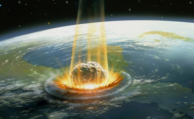A large asteroid colliding with Earth on the Yucatan Peninsula in Mexico