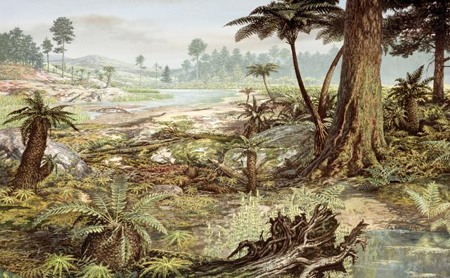 Landscape during the Jurassic period