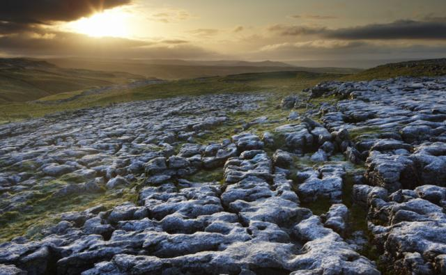 Frost on a limestone pavement in the Yorkshire Dales