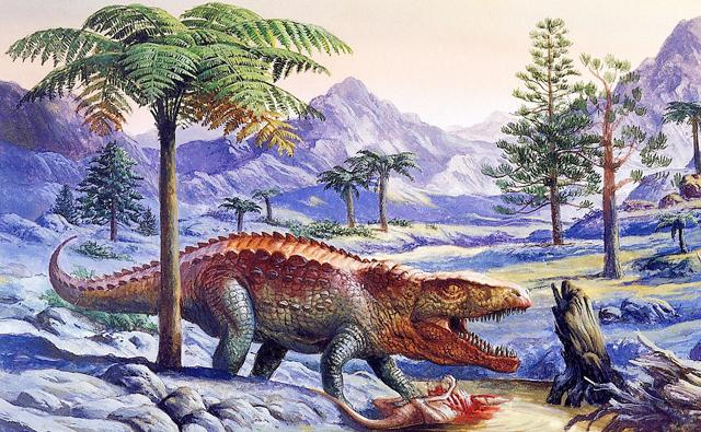 Postosuchus with a kill