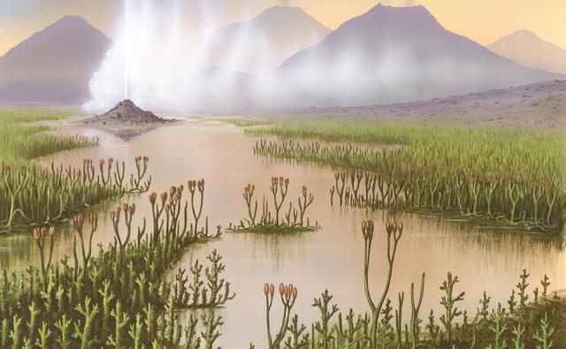 Wetland plants, geysers and volcanoes during the Silurian period