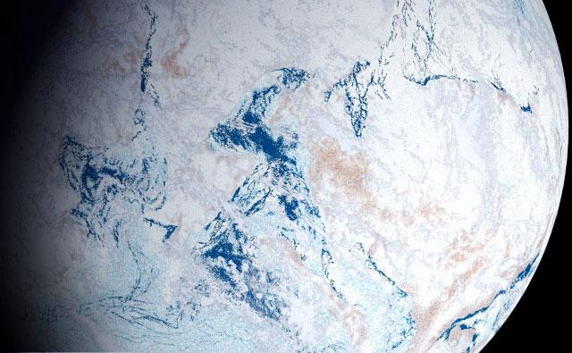 How the Earth may have looked from space 600 million years ago, frozen in snow and ice