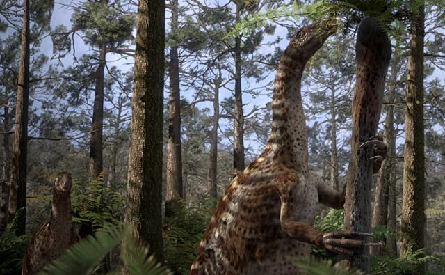 Nothronychus eating leaves on a tree